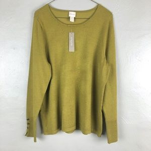 NWT Chico's Button Detail Pullover Sweater Sz L/12